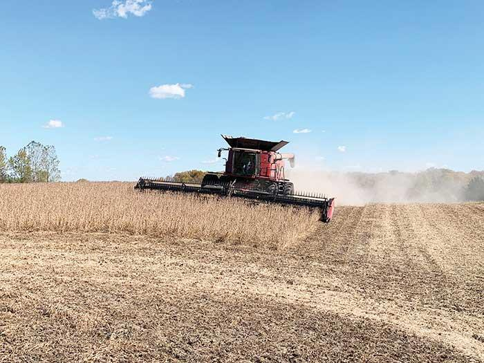 Harvest time is in full swing around Wright County during these beautlful October days. In this picture, beans are being harvested northeast of Buffalo. (Photo by Tom McDonnell)